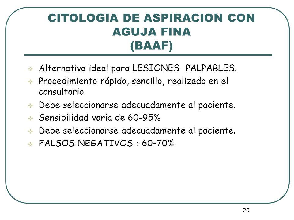 20 CITOLOGIA DE ASPIRACION CON AGUJA FINA (BAAF) Alternativa ideal para LESIONES PALPABLES. Procedimiento rápido, sencillo, realizado en el consultori