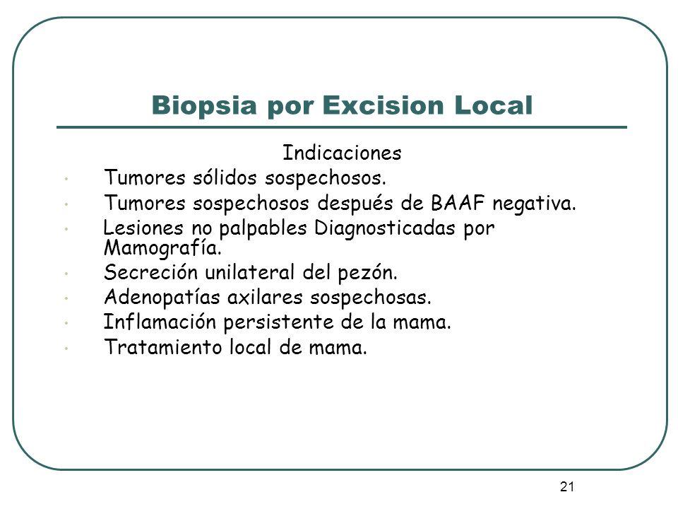 21 Biopsia por Excision Local Indicaciones Tumores sólidos sospechosos. Tumores sospechosos después de BAAF negativa. Lesiones no palpables Diagnostic