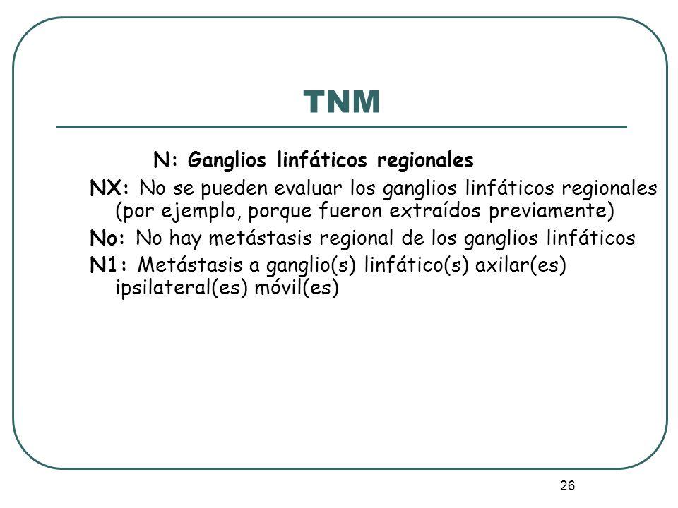 26 N: Ganglios linfáticos regionales NX: No se pueden evaluar los ganglios linfáticos regionales (por ejemplo, porque fueron extraídos previamente) No