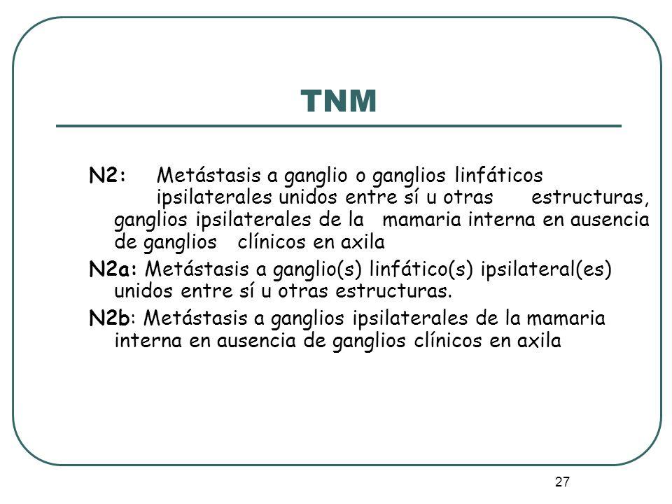 27 N2: Metástasis a ganglio o ganglios linfáticos ipsilaterales unidos entre sí u otras estructuras, ganglios ipsilaterales de la mamaria interna en a