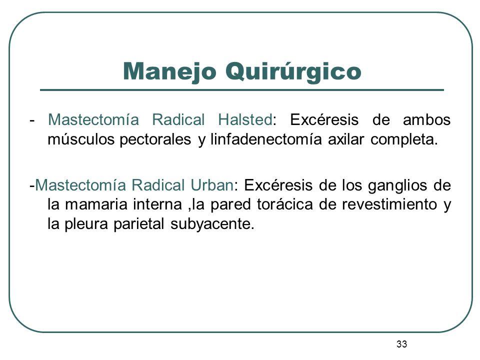 33 Manejo Quirúrgico - Mastectomía Radical Halsted: Excéresis de ambos músculos pectorales y linfadenectomía axilar completa. -Mastectomía Radical Urb