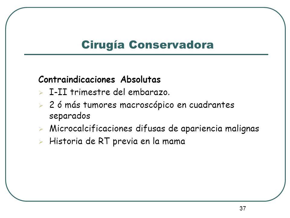 37 Cirugía Conservadora Contraindicaciones Absolutas I-II trimestre del embarazo. 2 ó más tumores macroscópico en cuadrantes separados Microcalcificac