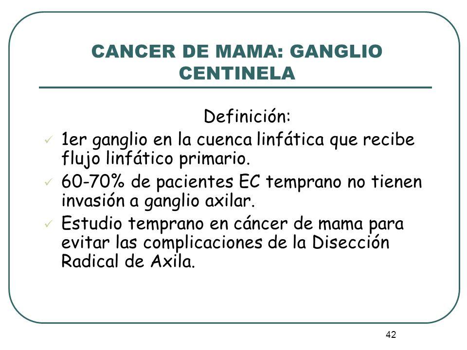 42 CANCER DE MAMA: GANGLIO CENTINELA Definición: 1er ganglio en la cuenca linfática que recibe flujo linfático primario. 60-70% de pacientes EC tempra