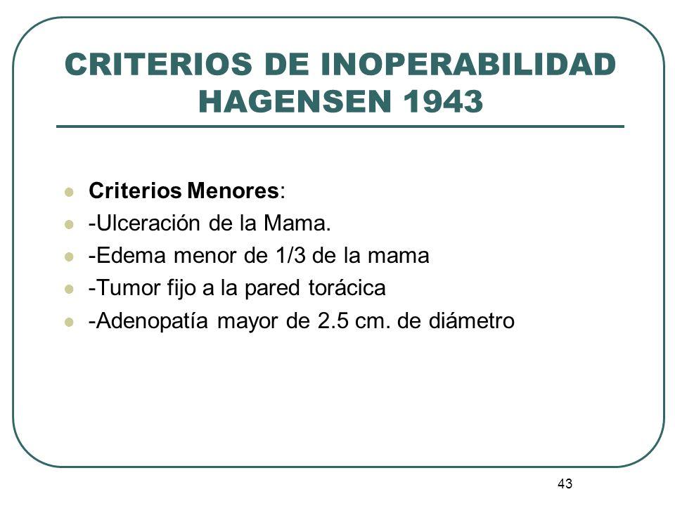 43 CRITERIOS DE INOPERABILIDAD HAGENSEN 1943 Criterios Menores: -Ulceración de la Mama. -Edema menor de 1/3 de la mama -Tumor fijo a la pared torácica