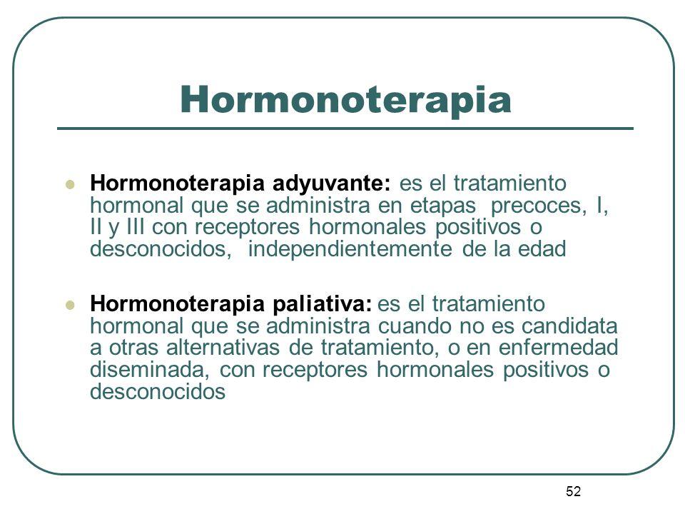 52 Hormonoterapia Hormonoterapia adyuvante: es el tratamiento hormonal que se administra en etapas precoces, I, II y III con receptores hormonales pos