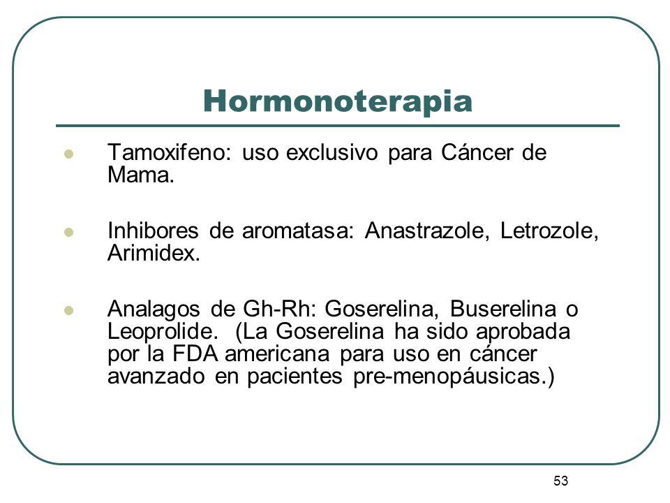 53 Tamoxifeno: uso exclusivo para Cáncer de Mama. Inhibores de aromatasa: Anastrazole, Letrozole, Arimidex. Analagos de Gh-Rh: Goserelina, Buserelina