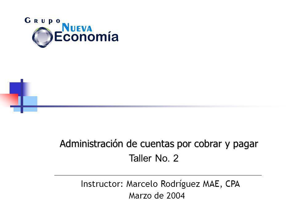 Instructor: Marcelo Rodríguez MAE, CPA Marzo de 2004 Taller No. 2 Administración de cuentas por cobrar y pagar