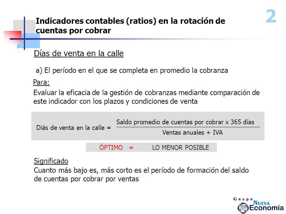 2 Indicadores contables (ratios) en la rotación de cuentas por cobrar Días de venta en la calle a) El período en el que se completa en promedio la cob