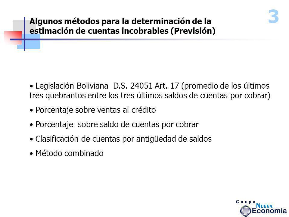 Algunos métodos para la determinación de la estimación de cuentas incobrables (Previsión) Legislación Boliviana D.S. 24051 Art. 17 (promedio de los úl