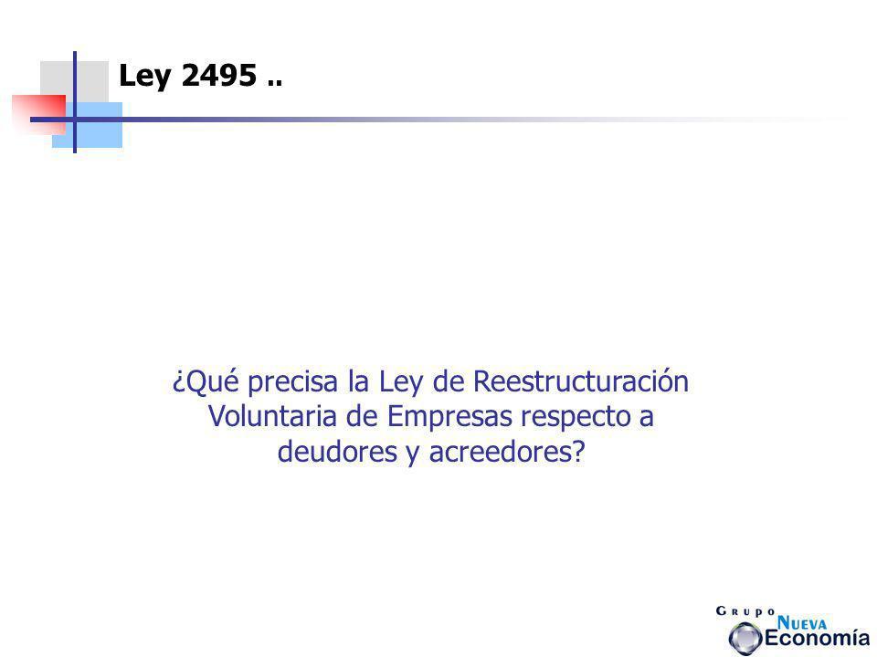 ¿Qué precisa la Ley de Reestructuración Voluntaria de Empresas respecto a deudores y acreedores? Ley 2495..
