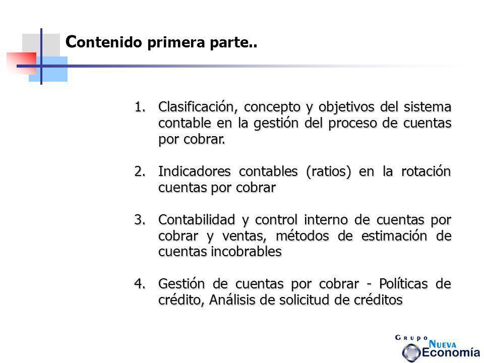 C ontenido primera parte.. 1.Clasificación, concepto y objetivos del sistema contable en la gestión del proceso de cuentas por cobrar. Clasificación,
