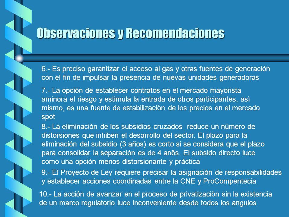 Observaciones y Recomendaciones 1.- La LOSEN no es explìcita en la definiciòn de su objeto 2.- La separaciòn es un aspecto indispensable de la reforma