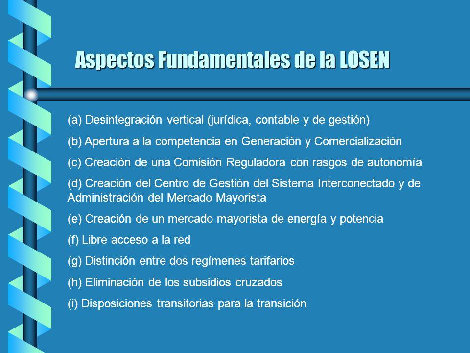 EL Objeto de la LOSEN La Presente Ley tiene por objeto establecer disposiciones que regiràn el Servicio Elèctrico Nacional, en concordancia con los ob