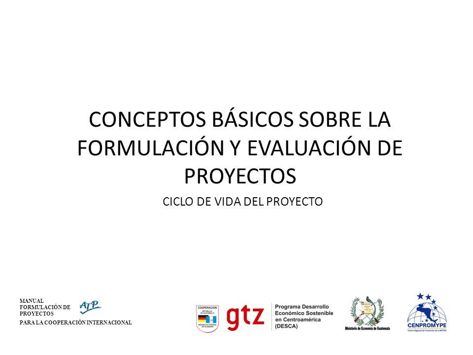 MANUAL FORMULACIÓN DE PROYECTOS PARA LA COOPERACIÓN INTERNACIONAL El Ciclo de Proyectos (V-2) PLANIFICACIÓN INSTRUCCIÓN FINANCIAMIENTO EJECUCIÓN EX-POST FINALIZACIÓN ENTREGA IDENTIFICACIÓN ANÁLISIS DE LA SITUACIÓN ORGANIZACIÓN EVALUACIÓN Y MONITOREO EX-ANTE DURANTE
