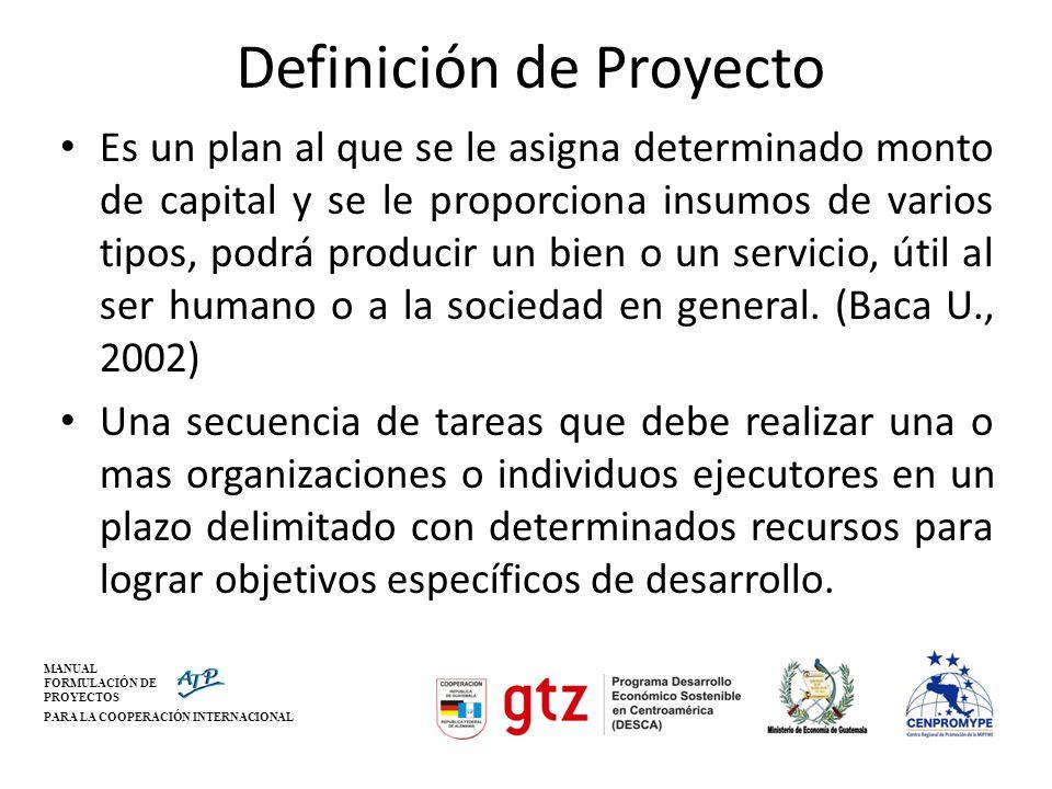 MANUAL FORMULACIÓN DE PROYECTOS PARA LA COOPERACIÓN INTERNACIONAL Qué es un proyecto.