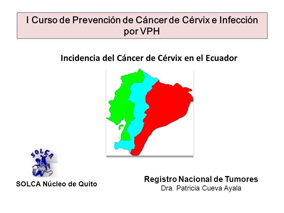 Incidencia del Cáncer de Cérvix en el Ecuador Registro Nacional de Tumores Dra. Patricia Cueva Ayala I Curso de Prevención de Cáncer de Cérvix e Infec