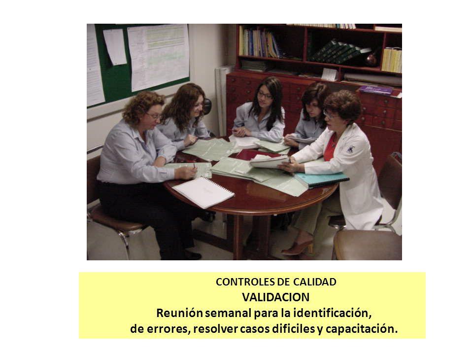 CONTROLES DE CALIDAD VALIDACION Reunión semanal para la identificación, de errores, resolver casos dificiles y capacitación.