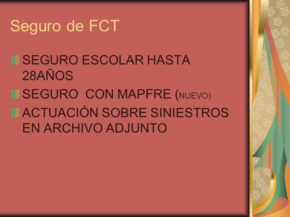 Seguro de FCT SEGURO ESCOLAR HASTA 28AÑOS SEGURO CON MAPFRE ( NUEVO) ACTUACIÓN SOBRE SINIESTROS EN ARCHIVO ADJUNTO