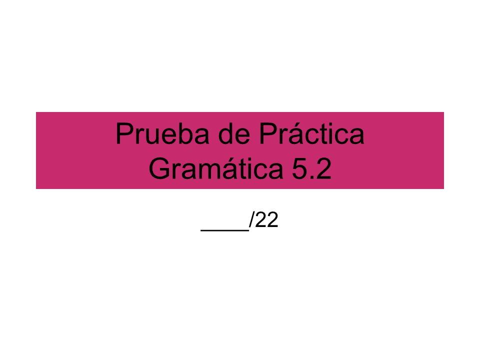 Prueba de Práctica Gramática 5.2 ____/22