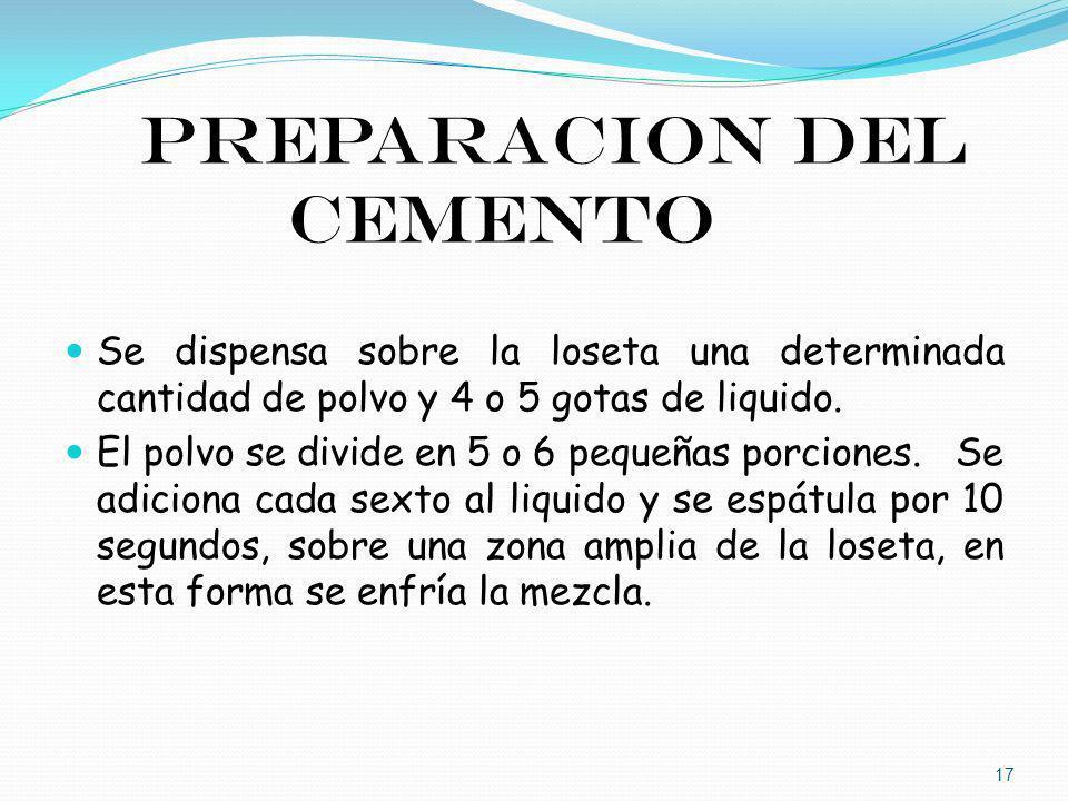 Preparacion del cemento Se dispensa sobre la loseta una determinada cantidad de polvo y 4 o 5 gotas de liquido. El polvo se divide en 5 o 6 pequeñas p