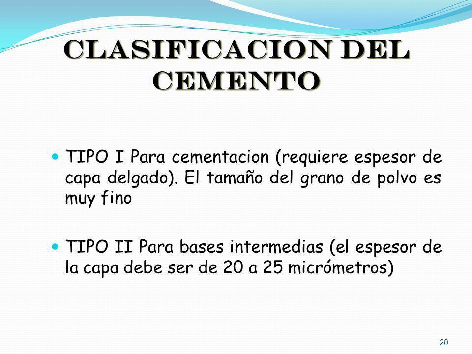 CLASIFICACION DEL CEMENTO TIPO I Para cementacion (requiere espesor de capa delgado). El tamaño del grano de polvo es muy fino TIPO II Para bases inte