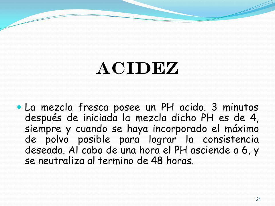 ACIDEZ La mezcla fresca posee un PH acido. 3 minutos después de iniciada la mezcla dicho PH es de 4, siempre y cuando se haya incorporado el máximo de