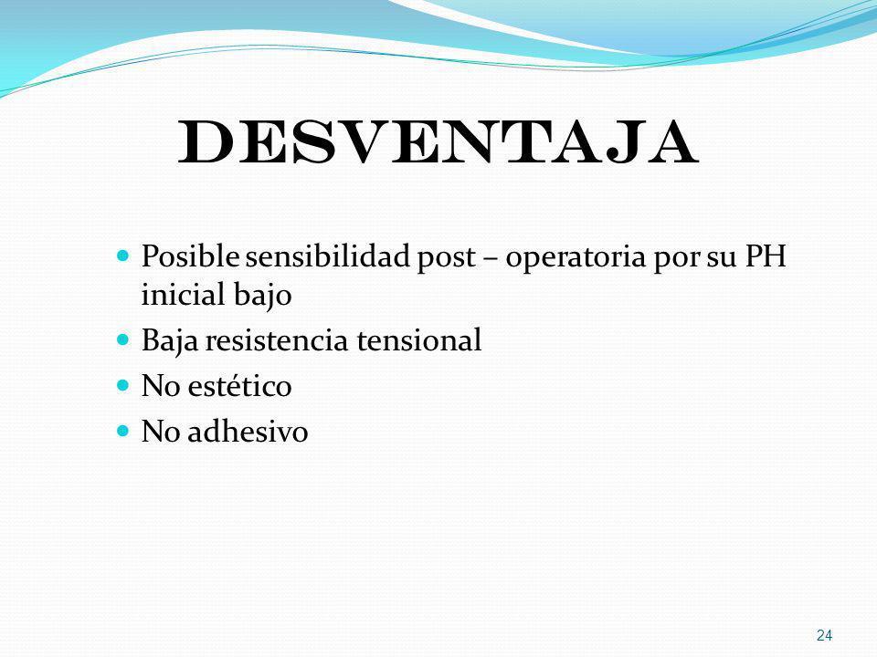 DESVENTAJA Posible sensibilidad post – operatoria por su PH inicial bajo Baja resistencia tensional No estético No adhesivo 24