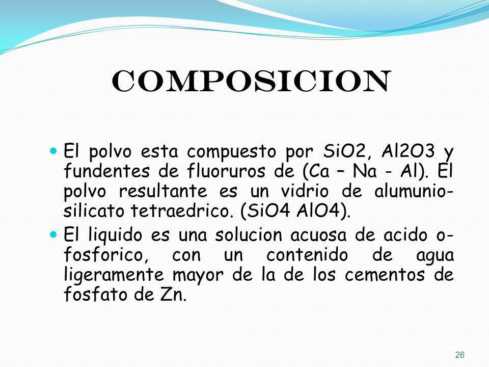 COMPOSICION El polvo esta compuesto por SiO2, Al2O3 y fundentes de fluoruros de (Ca – Na - Al). El polvo resultante es un vidrio de alumunio- silicato