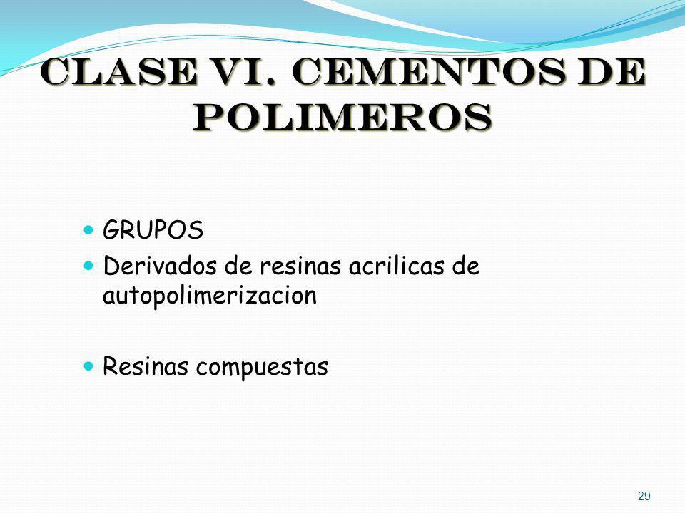 CLASE VI. CEMENTOS DE POLIMEROS GRUPOS Derivados de resinas acrilicas de autopolimerizacion Resinas compuestas 29