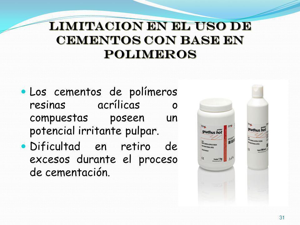 LIMITACION EN EL USO DE CEMENTOS CON BASE EN POLIMEROS Los cementos de polímeros resinas acrílicas o compuestas poseen un potencial irritante pulpar.