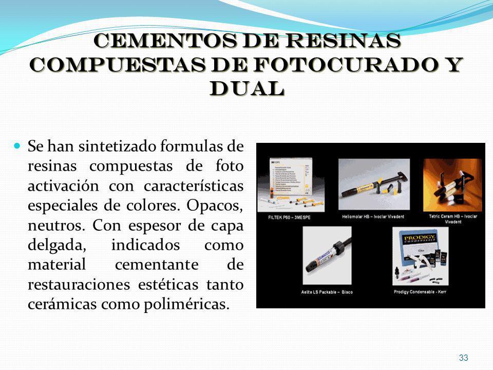 CEMENTOS DE RESINAS COMPUESTAS DE FOTOCURADO Y DUAL Se han sintetizado formulas de resinas compuestas de foto activación con características especiale