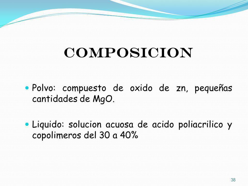 COMPOSICION Polvo: compuesto de oxido de zn, pequeñas cantidades de MgO. Liquido: solucion acuosa de acido poliacrilico y copolimeros del 30 a 40% 38
