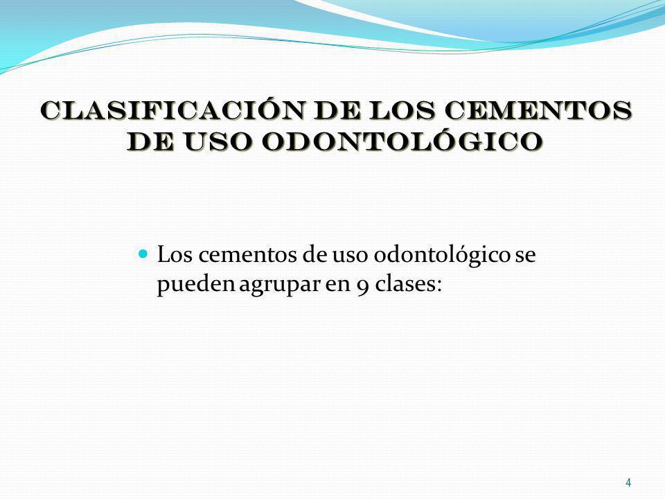 Clasificación de los cementos de uso odontológico Los cementos de uso odontológico se pueden agrupar en 9 clases: 4