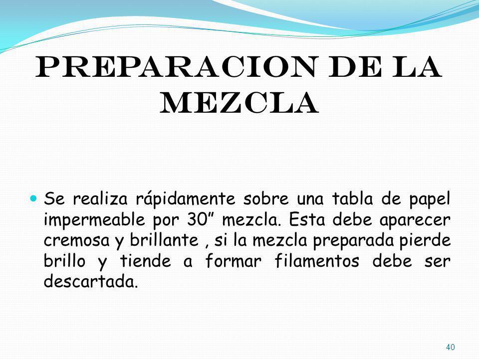PREPARACION DE LA MEZCLA Se realiza rápidamente sobre una tabla de papel impermeable por 30 mezcla. Esta debe aparecer cremosa y brillante, si la mezc