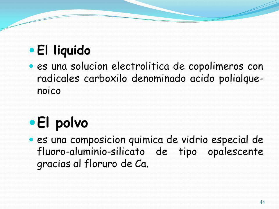 El liquido es una solucion electrolitica de copolimeros con radicales carboxilo denominado acido polialque- noico El polvo es una composicion quimica