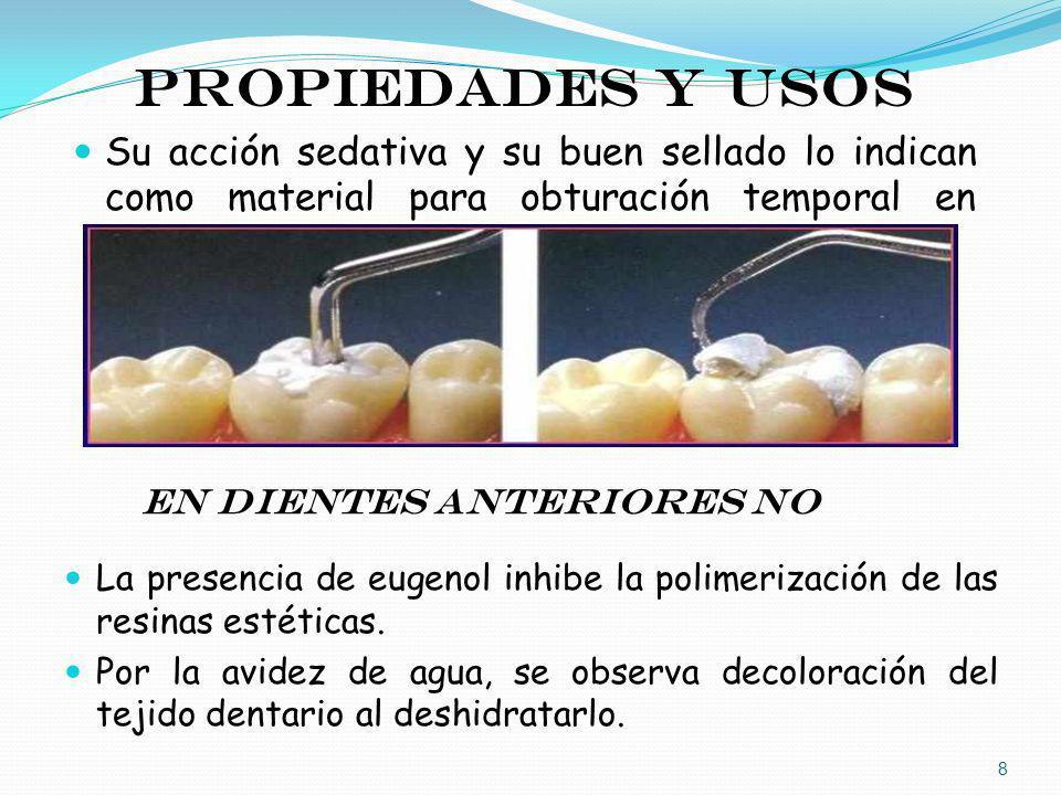 PROPIEDADES Y USOS Su acción sedativa y su buen sellado lo indican como material para obturación temporal en posteriores. En dientes anteriores NO La