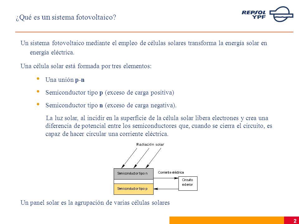 2 ¿Qué es un sistema fotovoltaico? Un sistema fotovoltaico mediante el empleo de células solares transforma la energía solar en energía eléctrica. Una
