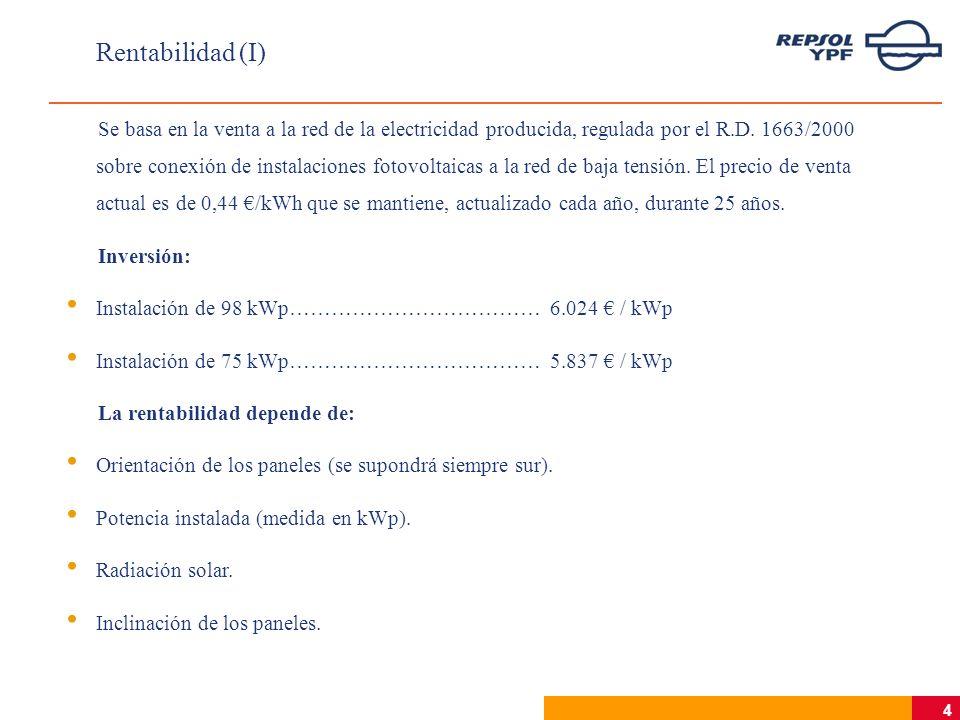 5 Rentabilidad (II) Estudio por capitales de provincia para diversas potencias e inclinaciones Para 98 kWp y 30º de inclinación (la óptima), la TIR varía entre 3,63% en Bilbao y 10,36% en Murcia, con valores de 7,28% en Madrid, 6,70% en Barcelona y 7,14% en Zaragoza.