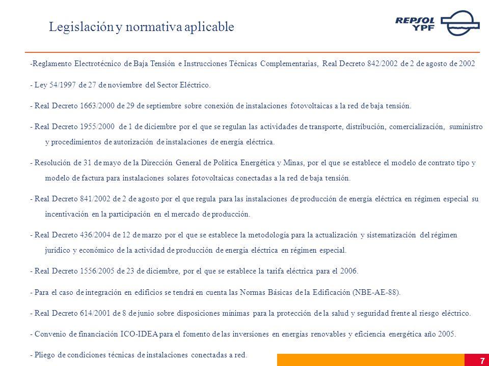 7 Legislación y normativa aplicable -Reglamento Electrotécnico de Baja Tensión e Instrucciones Técnicas Complementarias, Real Decreto 842/2002 de 2 de