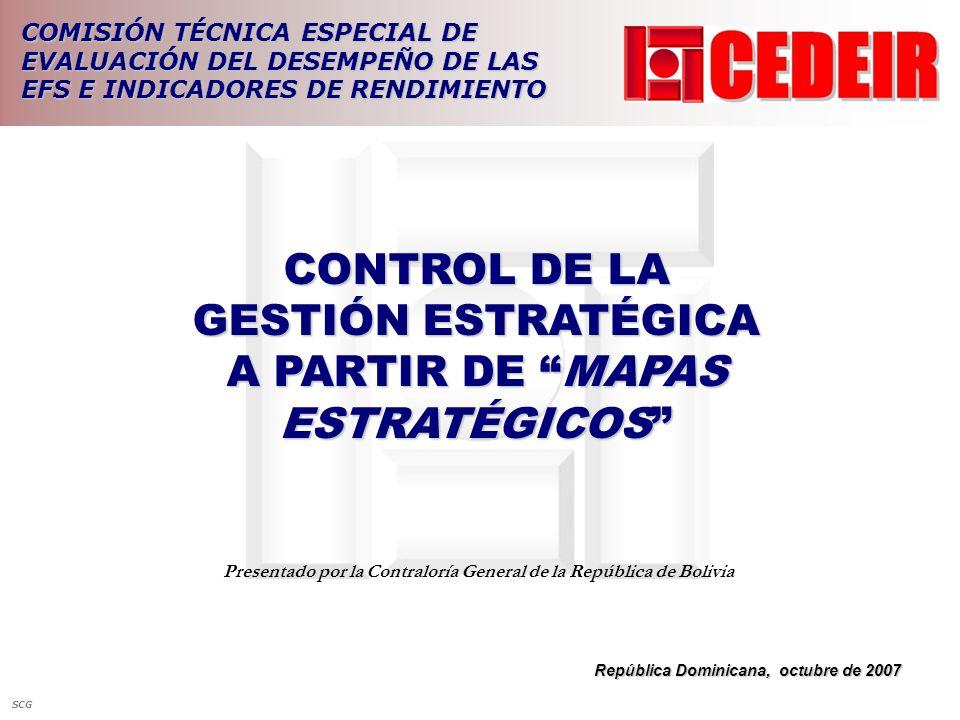 CONTROL DE LA GESTIÓN ESTRATÉGICA A PARTIR DE MAPAS ESTRATÉGICOS República Dominicana, octubre de 2007 Presentado por la Contraloría General de la Rep