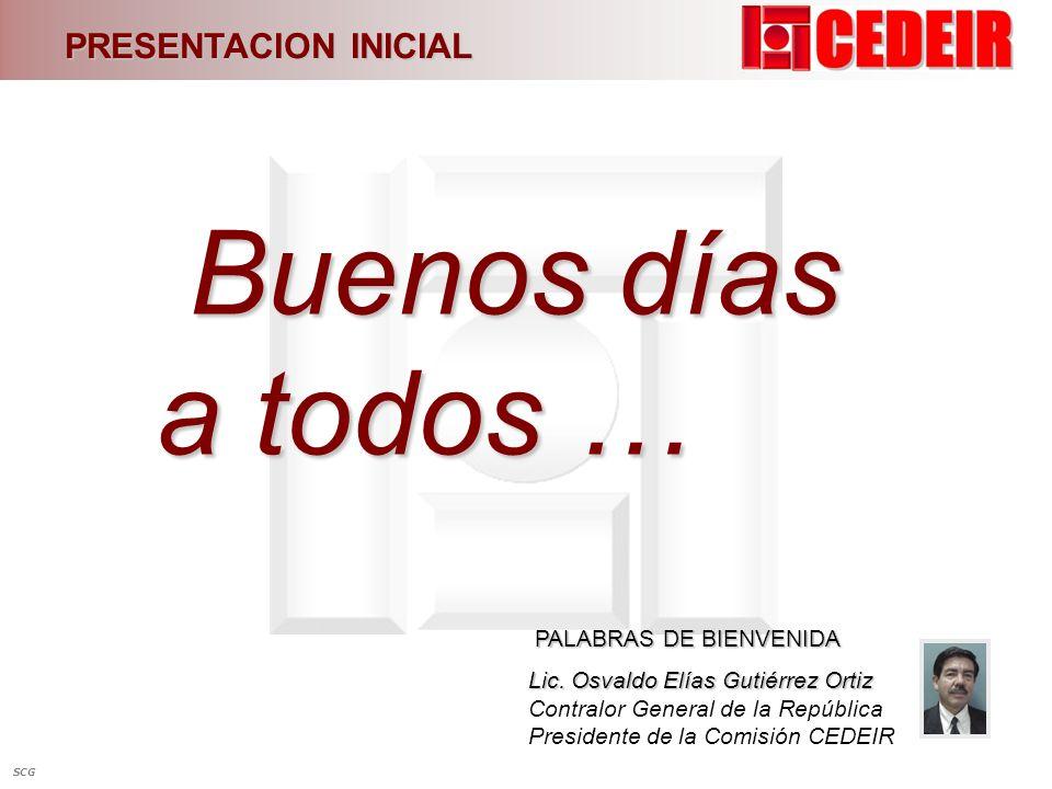 PRESENTACION INICIAL Buenos días a todos … Buenos días a todos … PALABRAS DE BIENVENIDA PALABRAS DE BIENVENIDA Lic. Osvaldo Elías Gutiérrez Ortiz Lic.