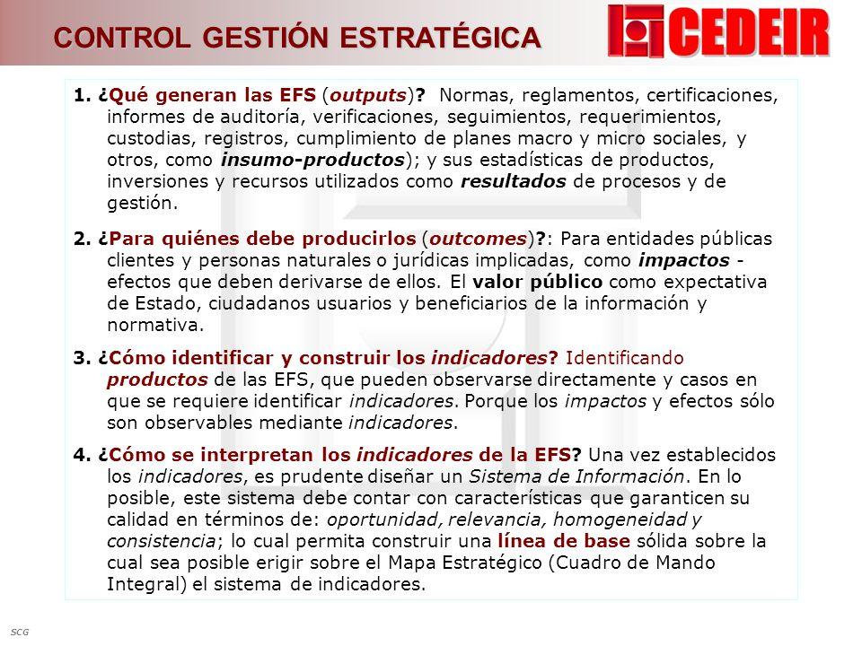 1. ¿Qué generan las EFS (outputs)? Normas, reglamentos, certificaciones, informes de auditoría, verificaciones, seguimientos, requerimientos, custodia