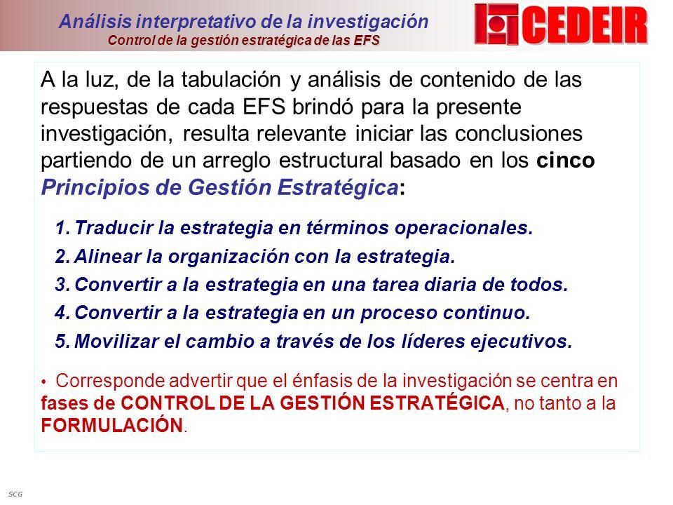 Control de la gestión estratégica de las EFS Análisis interpretativo de la investigación Control de la gestión estratégica de las EFS A la luz, de la