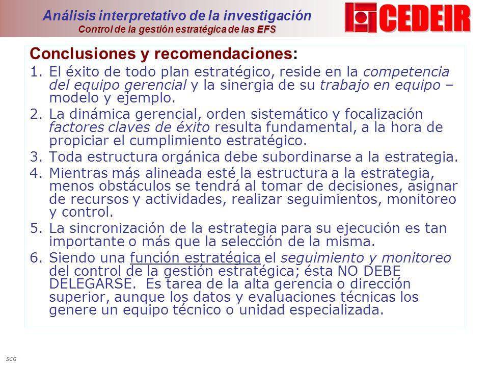 Control de la gestión estratégica de las EFS Análisis interpretativo de la investigación Control de la gestión estratégica de las EFS Conclusiones y r