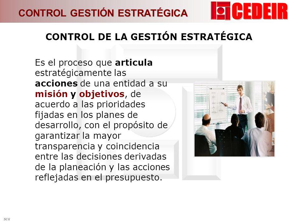 CONTROL DE LA GESTIÓN ESTRATÉGICA Es el proceso que articula estratégicamente las acciones de una entidad a su misión y objetivos, de acuerdo a las pr