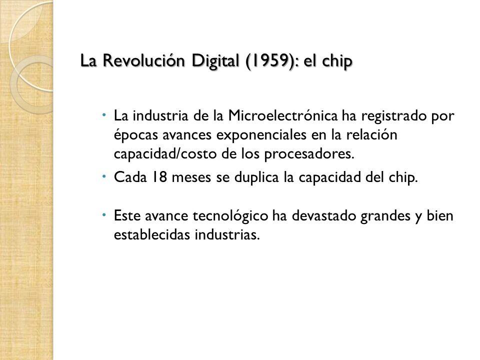 La Revolución Digital (1959): el chip La industria de la Microelectrónica ha registrado por épocas avances exponenciales en la relación capacidad/costo de los procesadores.