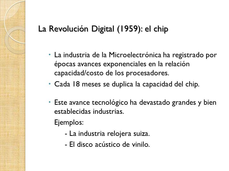 La Revolución Digital (1959): el chip La industria de la Microelectrónica ha registrado por épocas avances exponenciales en la relación capacidad/cost
