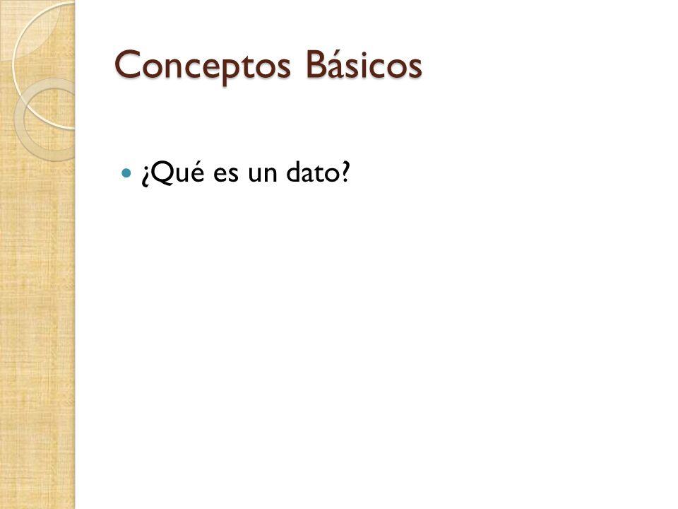 Conceptos Básicos ¿Qué es un dato?
