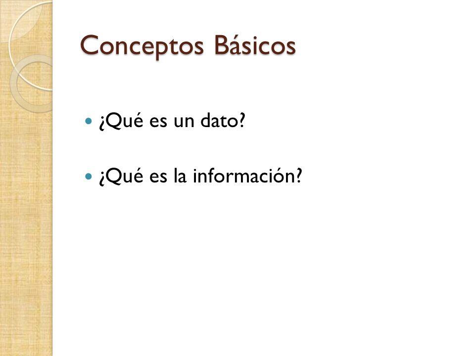 Conceptos Básicos ¿Qué es un dato? ¿Qué es la información?