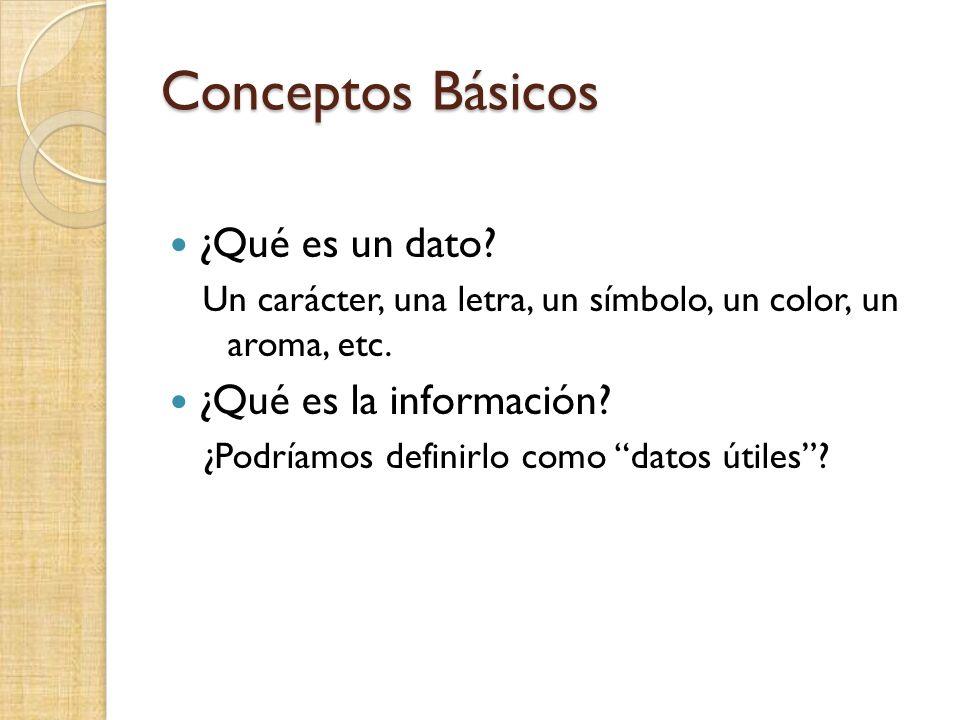 Conceptos Básicos ¿Qué es un dato? Un carácter, una letra, un símbolo, un color, un aroma, etc. ¿Qué es la información? ¿Podríamos definirlo como dato